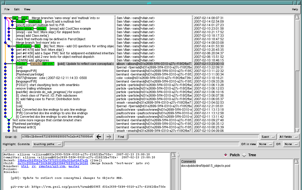 A screenshot of `gitk --all' showing just the published changes from the night of hacking